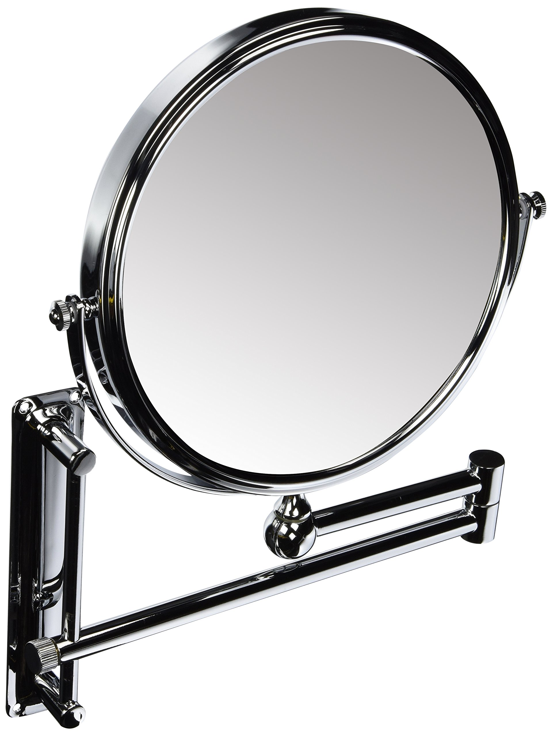 Danielle Adjustable Height Two-Sided Wall Mount Makeup Mirror, 10X Magnification, Chrome