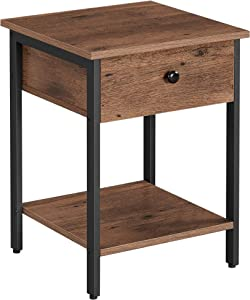 VASAGLE Nightstand, End Table, Side Table with Drawer and Shelf, Bedroom, Easy Assembly, Steel, Industrial Design, Hazelnut Brown and Black ULET055B03
