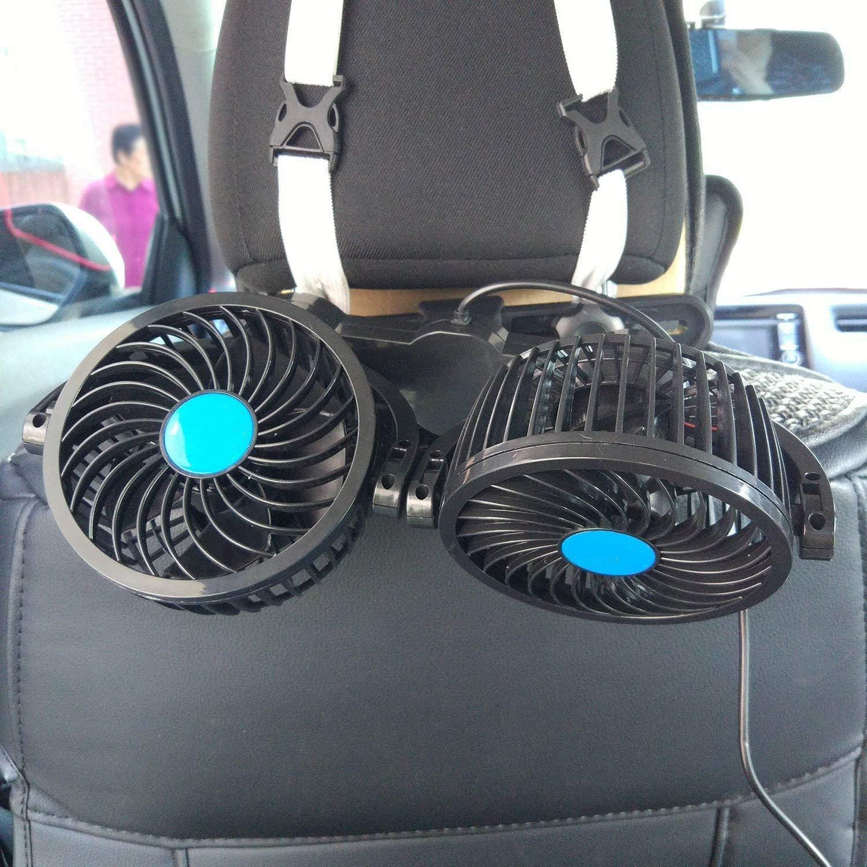 SEAMETAL Car Fan for Back Seat, Car Seat Fan Cigarette Lighter, Fan for Car 12V Headrest Black 4inches (Blue) by SEAMETAL (Image #9)