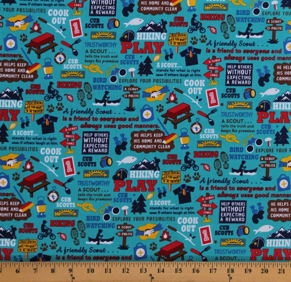 Cotton Cub Scouts Words Scout Law Oath Hiking Camping Activities Boy Scouts Scouting Gear Equipment on Teal Cotton Fabric Print by The Yard (C7200-Teal) by Field's Fabrics