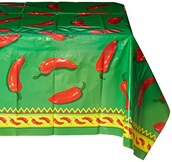 Beistle 57301 Chili Pepper Tablecover, 54 By 108 Inch