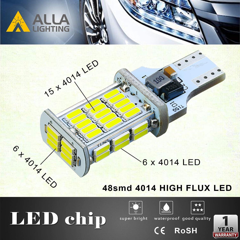 6000K Xenon White Alla Lighting 2600lm CANBUS 912 921 LED Back Up Light Bulbs 360-Degrees Xtreme Super Bright LED 921 Bulb High Power 4014 48-SMD T15 906 W16W 921 LED Bulbs Back-Up Reverse Lights