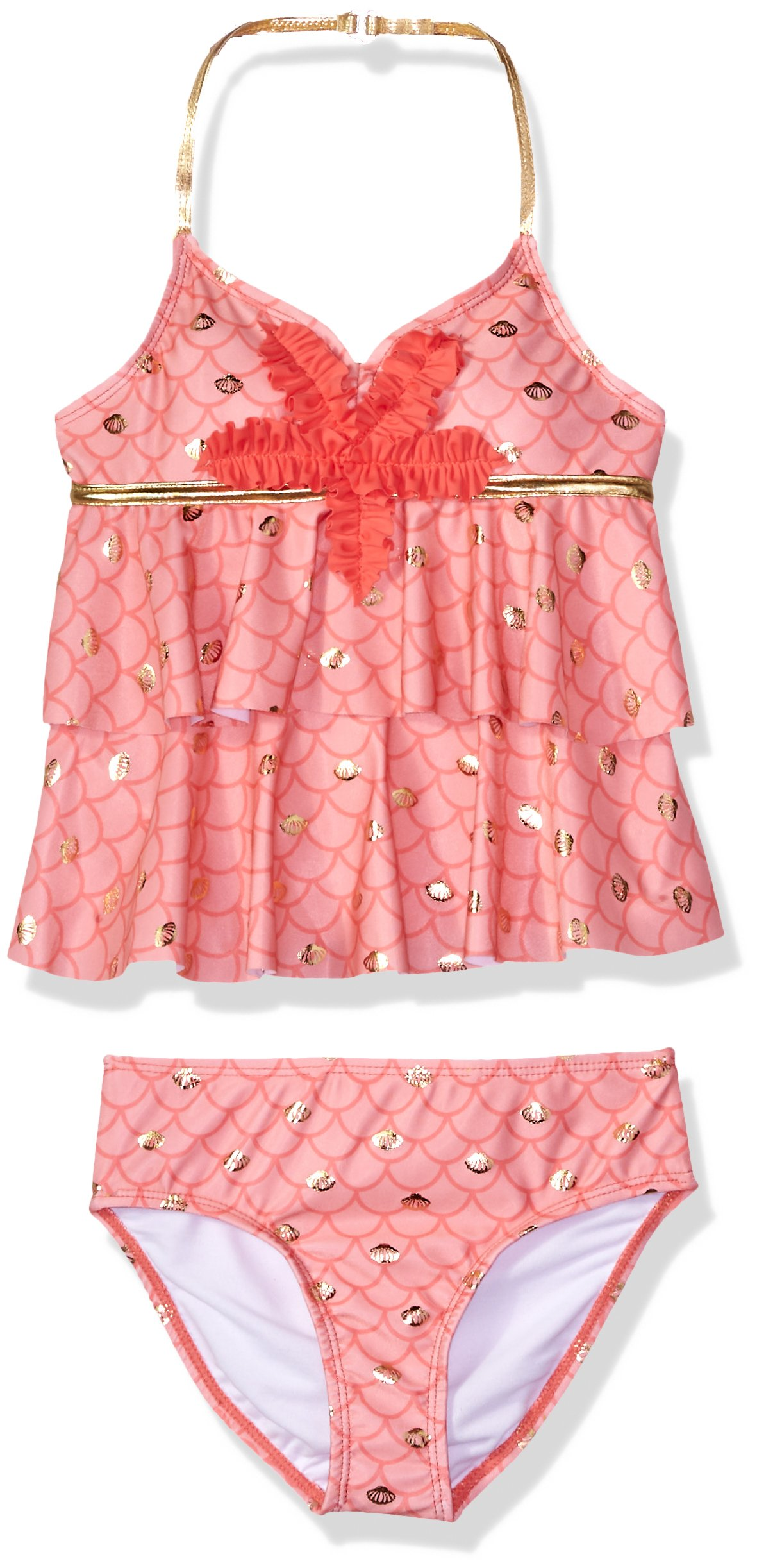 Jantzen Big Girls' Mermaid Ruffle Tankini Swimsuit, Mermaid Coral, 10