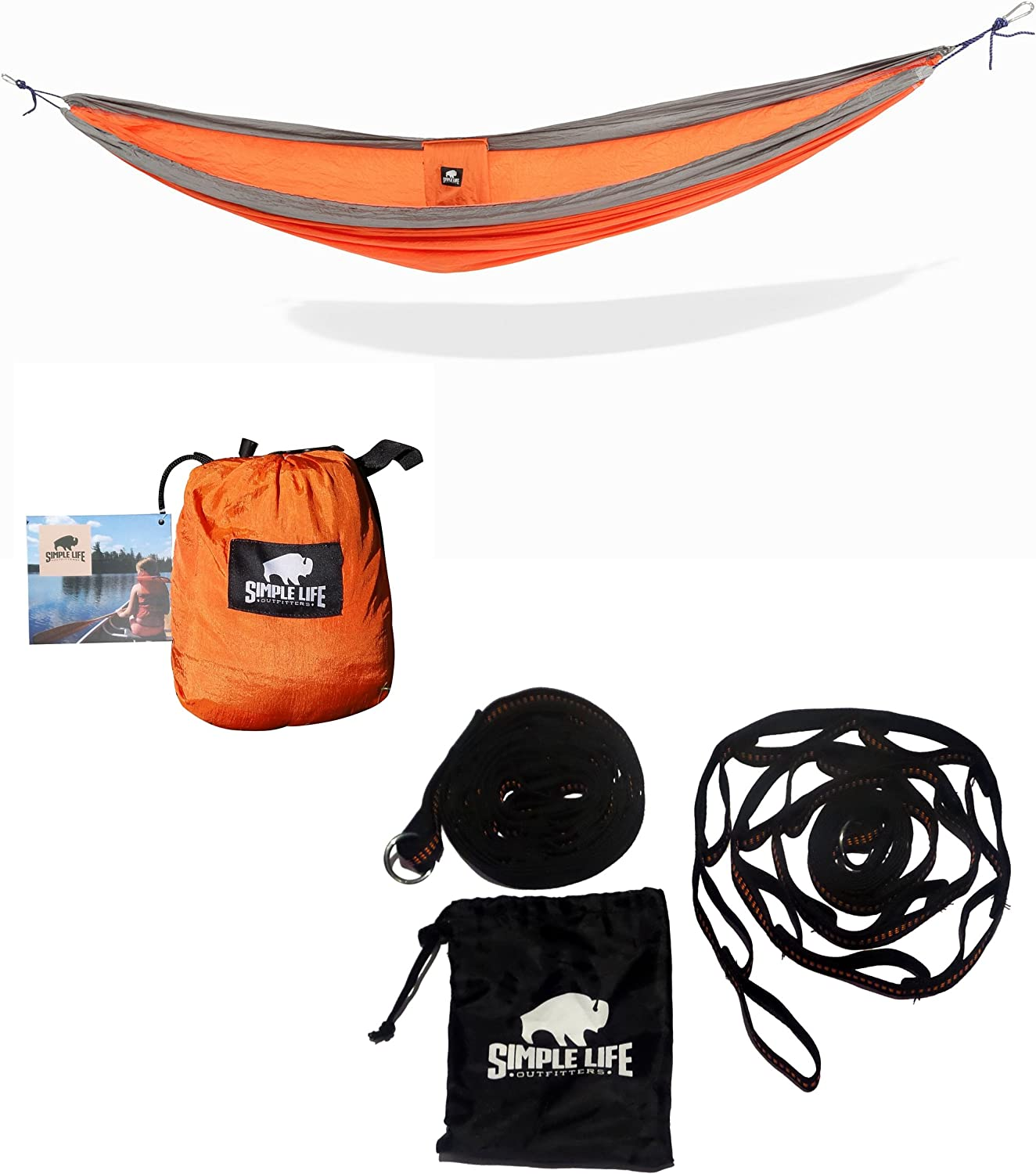 Premium Outdoor Nylon Camping Hammock, with Tree Straps Lightweight, Compact Portable for Camping, Hiking, Backyard Lounging More Made of Durable Parachute Nylon with Free 9ft Tree Straps