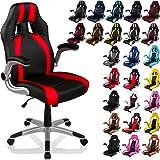 """RACEMASTER® Racing chaise de bureau """"GT Stripes Series"""", accoudoirs pliables, Fauteuil de bureau, couleur noir / rouge"""