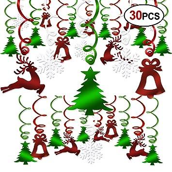 Howaf 30 Piezas Navidad Colgar Decoraciones de Remolino spirales Guirnalda para Navidad de Fiesta Decoraciones hogar