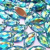 succi shan Big Sale 100pcs 7x15mm Horse Eye Shape Crystal AB Color Clear Sew On Acrylic Rhinestones Flatback Fancy Stones Sew