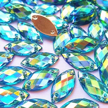 succi shan Big Sale 100pcs 7x15mm Horse Eye Shape Crystal AB Color Clear Sew  On Acrylic f9a2f1cb2d5c
