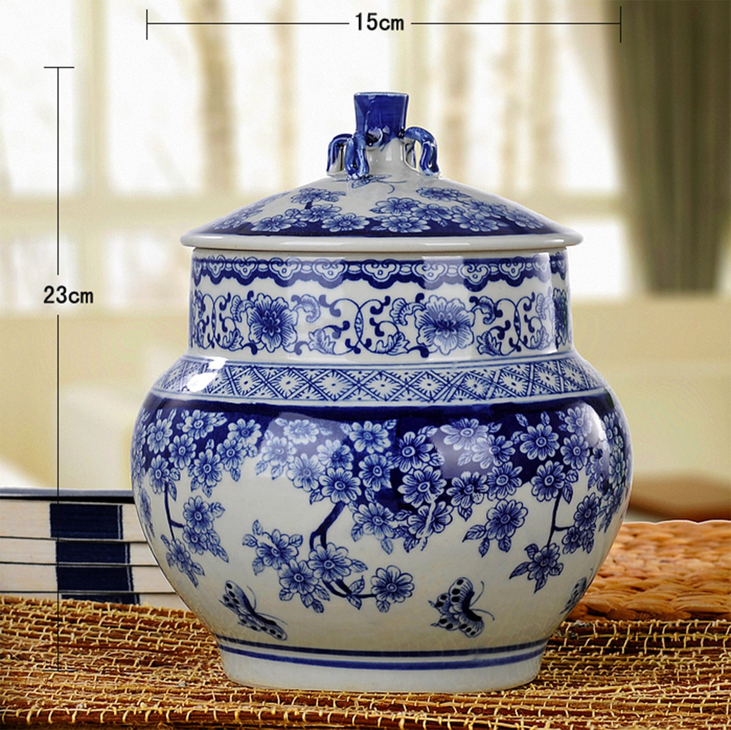 Blue & White Fine Porcelain Jar for Cookie Candy, Home & Office Decor Accent by ALL DECOR