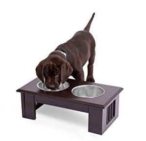 Internet's Best Traditional Elevated Pet Feeder - Metal Dog Bowls - Decorative Raised Stand with Double Stainless Steel Bowls - Espresso