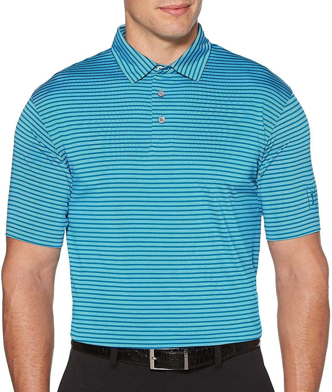 PGA TOUR Mens Short Sleeve Feeder Stripe Polo Shirt