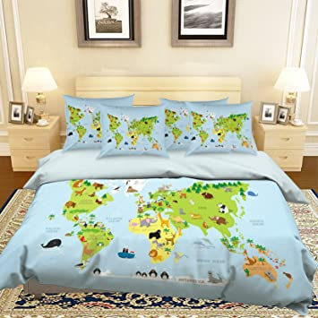Amazon 3d sea animal world map 57 bedding pillowcases quilt 3d sea animal world map 57 bedding pillowcases quilt duvet cover set single queen king gumiabroncs Images