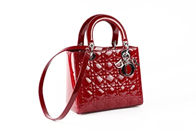 Christian Dior Lady Dior bag handbag in red 100% Lamb Leather ... ac80e788c6