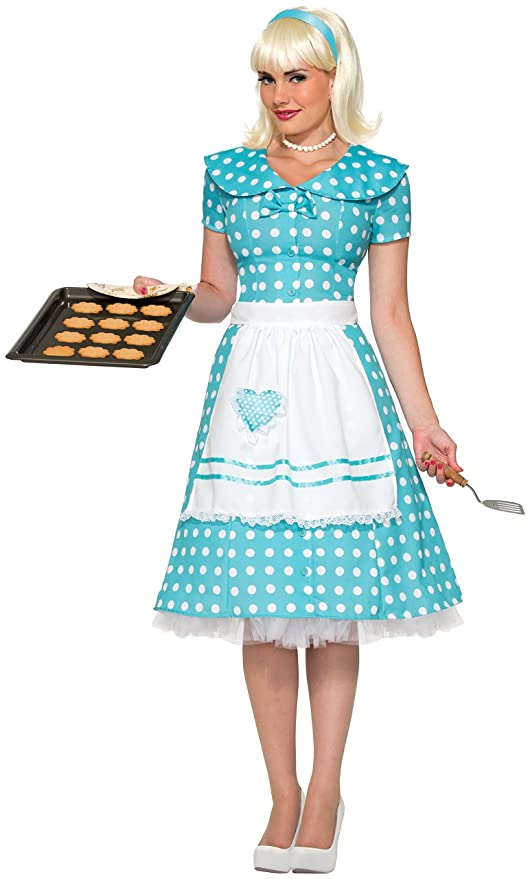 1950s Costumes- Poodle Skirts, Grease, Monroe, Pin Up, I Love Lucy  50s Housewife Costume $21.88 AT vintagedancer.com