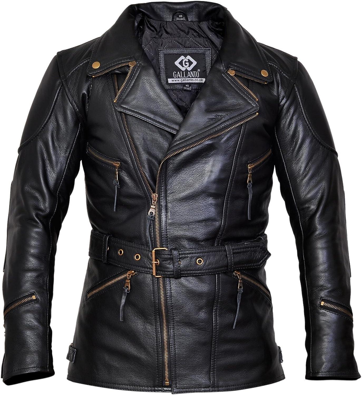Veste de biker 34 Eddie pour homme en cuir noir