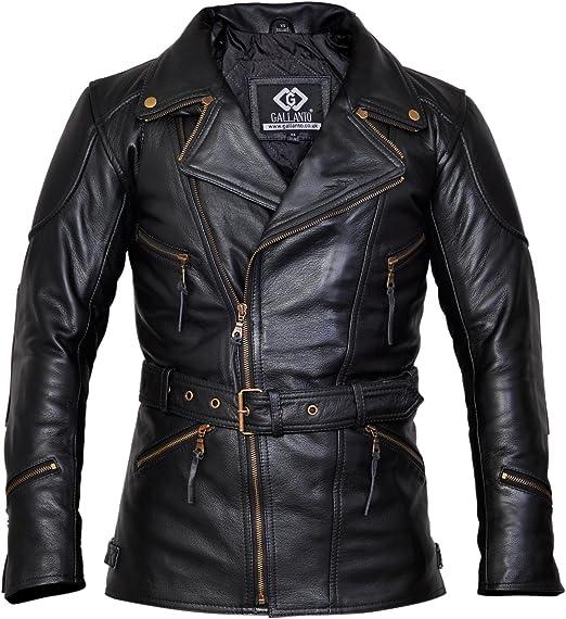 veste cuir noir homme trois quard