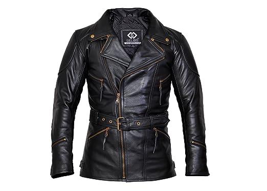 Edblack Mens Long Leather Biker Jacket Xs