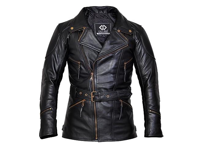 212c9b3376f Gallanto 3/4 Eddie Black Mens Long Leather Biker Jacket - Leather ...