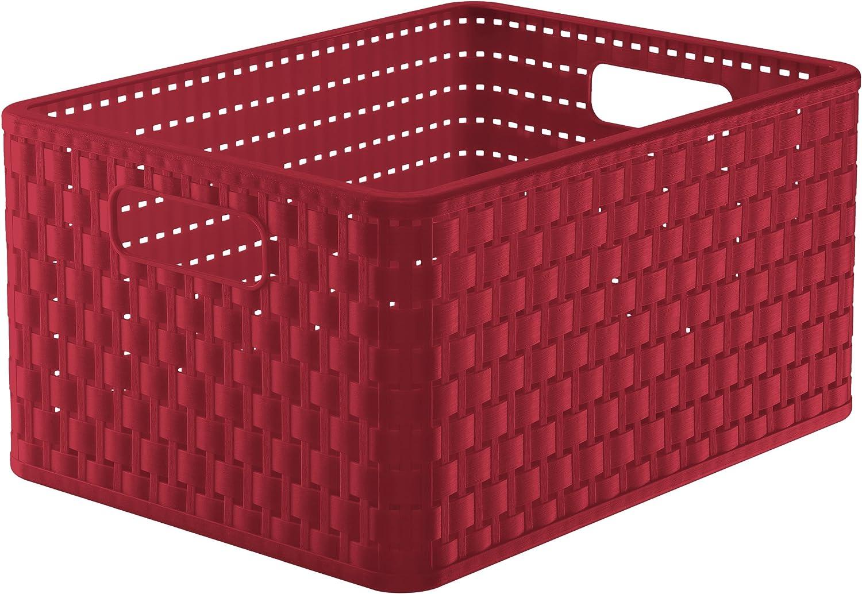 Rotho Country - Caja de almacenaje con efecto de mimbre, Rojo, A4