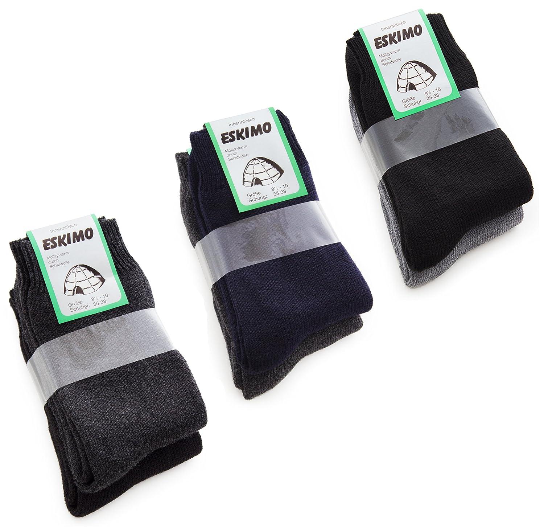 6 Paar Thermosocken BRUBAKER ESKIMO. Super flauschige Socken - Skisocken - 5 Farben - 3 Größen