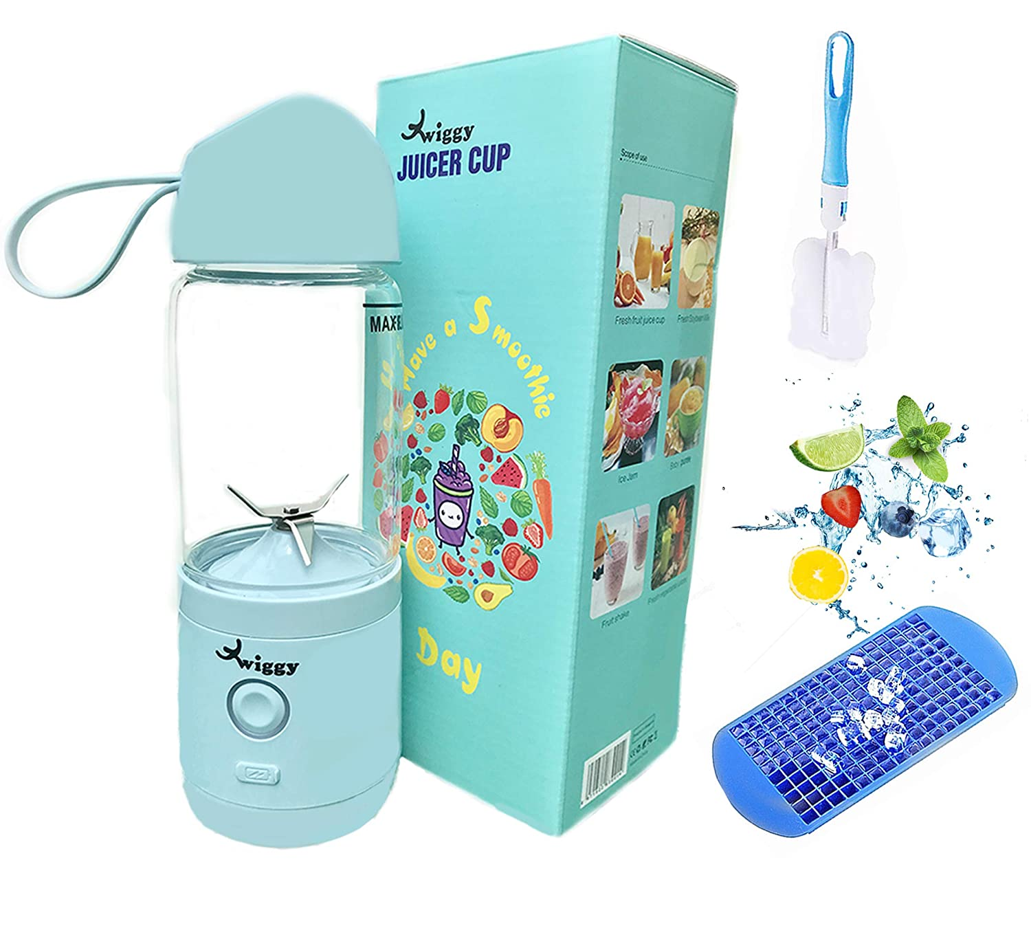 Twiggy Smoothie Blender For Single Served Personal USB Rechargeable Portable Blender For Shakes and Smoothies Travel Glass Smoothie Bottle Juicer Cup Made from high grade 304 stainless steel 4 blades Rechargeable 4000mAh batteries Powerful motor 25000 rpm Bigger quantity 550ml Comes with detachable brush and silicone ice tray BPA FREE