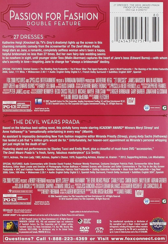 Amazon.com: 27 Dresses / Devil Wears Prada, The Double Feature: 27 ...