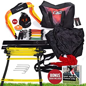 Speed and Agility Training Equipment Set - Agility Ladder, Running Parachute, Resistance K Bands, Speed Hurdles, Disc Cones, Jump Rope & Carry Bag Included - Basketball, Baseball, Soccer, All Sports