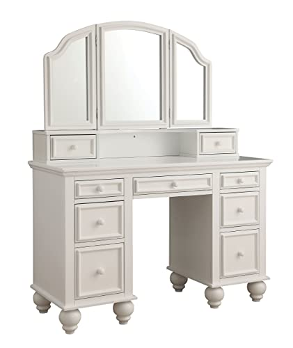 HOMES Inside Out Garnet Transitional Vanity Table with Stool, White