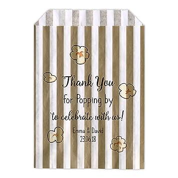 Personalizado boda dulces bolsas carro de palomitas de maíz gracias favor Candy Favor de la boda confeti Engagement: Amazon.es: Hogar