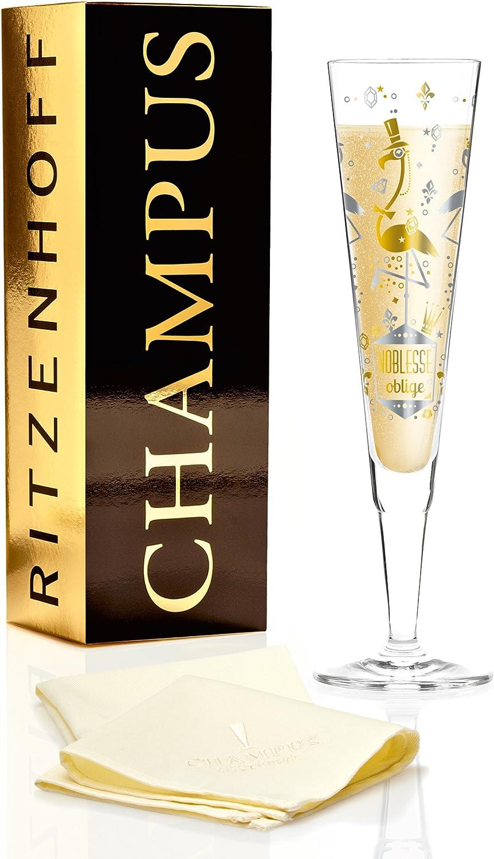Ritzenhoff Champus Champagnerglas Platin 7 cm Kristallglas Gold