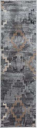 Distressed Contemporary High-Low Texture Gray Area Rug 2 X 7
