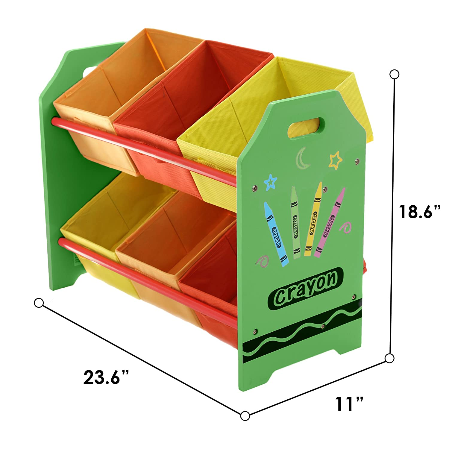 Bebe Style Premium Toddler Furniture Wooden Toy Storage Organizer Shelf with 6 Buns Crayon Theme Easy Assembly