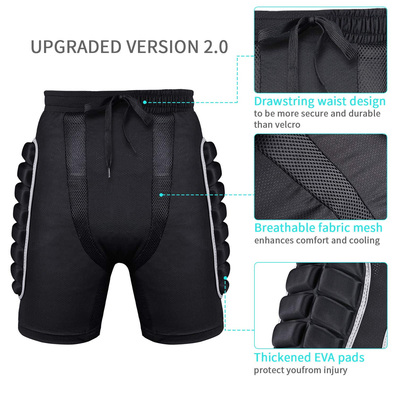 Protection Hip SKL 3D Padded Protective Shorts EVA Pad Short Pants Protective Gear Drop Resistance for Ski Skate Snowboard Skating Skiing Cycling Upgraded Version 2.0