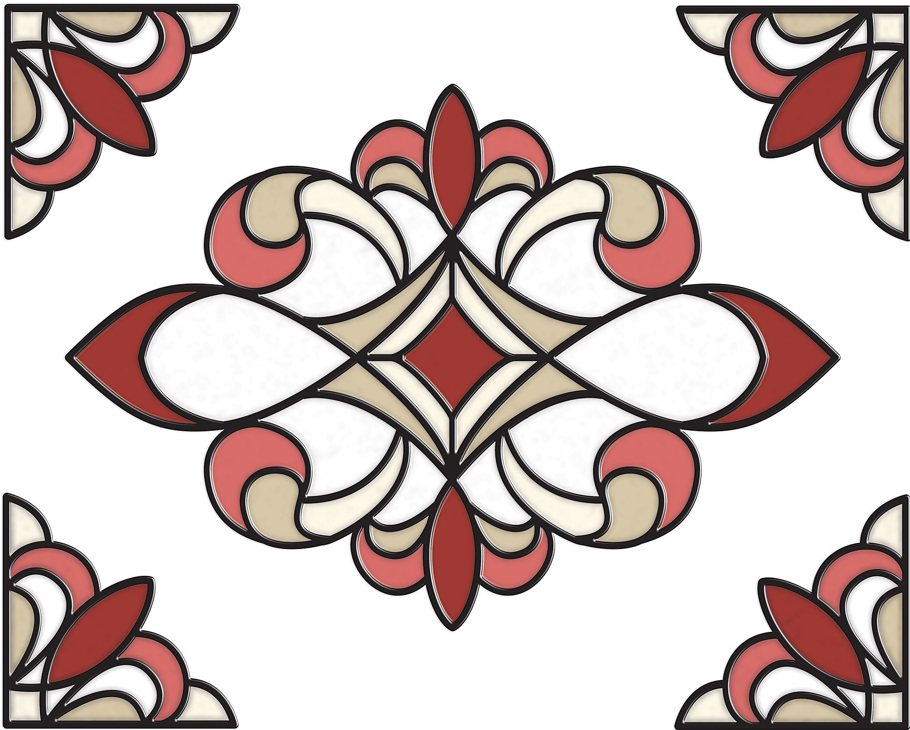 Brewster SG0311 10.5-Inch-by-7.7-Inch Westwood Stained Glass Applique