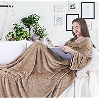 DecoKing TV-Decke 150x180 cm Microfaser Kuscheldecke mit Ärmeln und Taschen Mikrofaserdecke Fleecedecke Fleece weich sanft flauschig kuschelig Füßtasche Tagesdecke Lazy