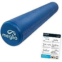 MEGLIO Rodillo de Masaje de Alta Densidad (45cm y 90cm). Ideal para Masajes y Liberación Miofascial Entrenamientos de Fitness, Yoga, Pilates y Recuperación - Incluye guía de Ejercicio Gratis