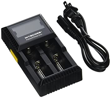 Nitecore D2 Cargador Inteligente de Digi – Nos Enchufe Negro lh0027203 con Monitor LCD para 26650 18650 16340 RCR123 14500 10400 – AA AAA AAAA C Pilas