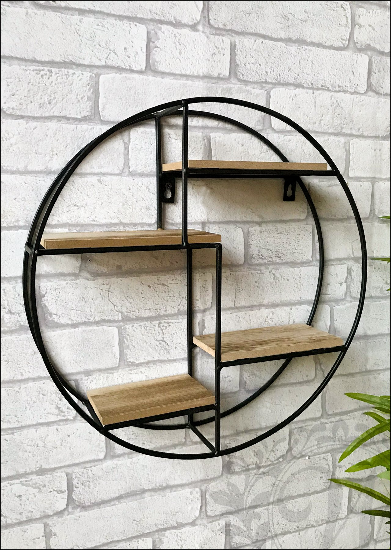 Black Metal Circle Round Wall Unit with Wooden Shelves Industrial Style Four Levels Iron Display