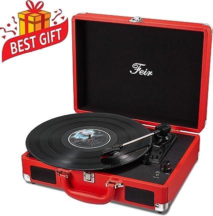 Amazon.com: Tocadiscos estéreo de vinilo. Rojo: Electronics