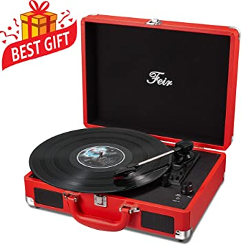 Vinyl Stereo Red Record Player 3 Speed Portable Turntable Suitcase Built in 2 Speakers RCA Line out AUX Headphone Jack PC Recorder