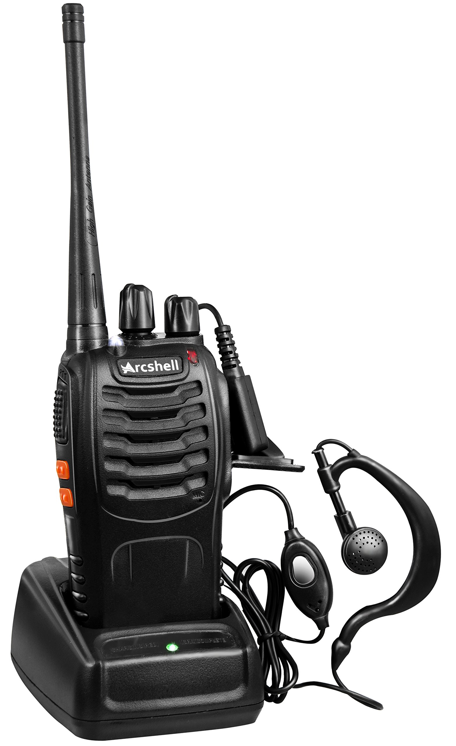 Arcshell Rechargeable Long Range Two-way Radios with Earpiece 2 Pack UHF 400-470Mhz Walkie Talkies Li-ion Battery and Charger included by Arcshell (Image #4)
