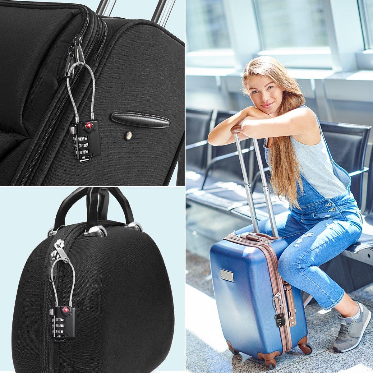 KeeKit TSA Approved Luggage Locks, 3 Digit Combination Lock, TSA Luggage Lock, Cable Lock for Travel, Suitcase, Baggage & Backpack, Gym Locker (Black, 2 Pack) by KeeKit (Image #7)