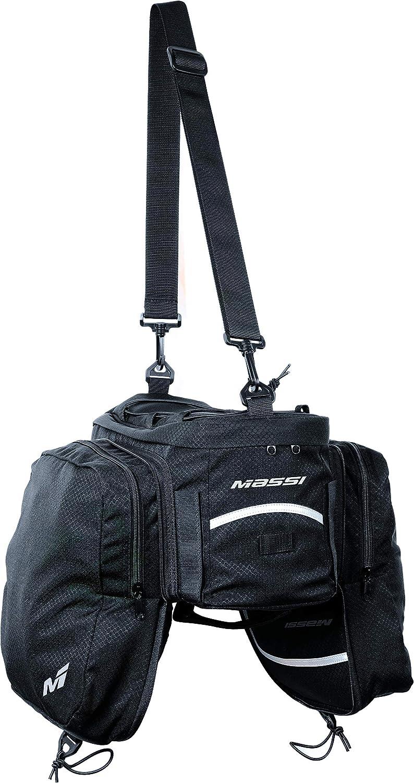 Massi portabultos CM232 Bolsa Trasera para Bicicleta con alforjas Laterales, Adultos Unisex, Negro, u