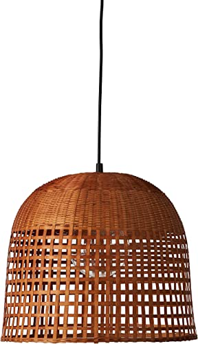 Stone Beam Modern Woven Bamboo Basket Ceiling Pendant Chandelier Fixture With Light Bulb – 15.5 x 15.5 x 75 Inches, 60 Inch Cord