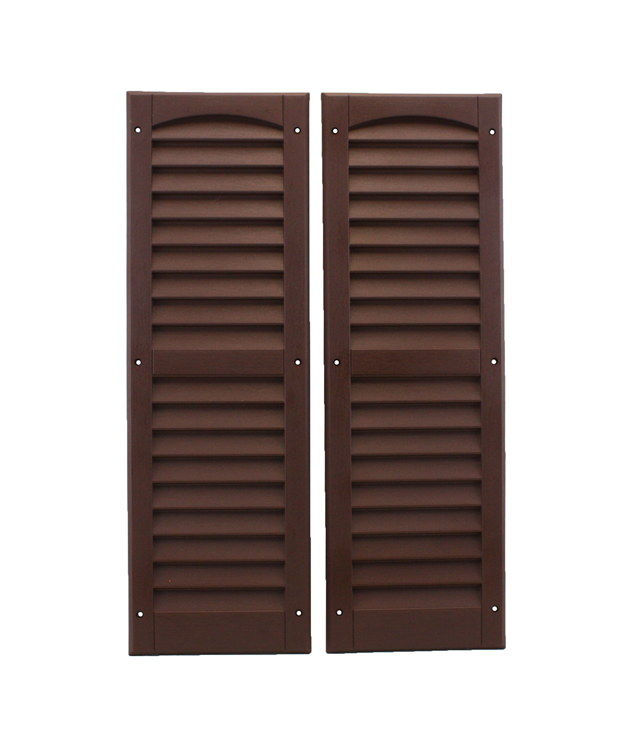 Louvered Shed Shutter or Playhouse Shutter, Brown 9'' X 27'', 1 Pair