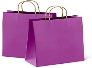 Paper Shopping Bags 16x6x12 Purple Paper Bags 16 x 6 x 12 by Amiff. Pack of 25 Retail Bags. Kraft Carrier Bags with Handles for Shopping, Merchandise. Reusable. Purple 406x305x153, 150 GSM Bags