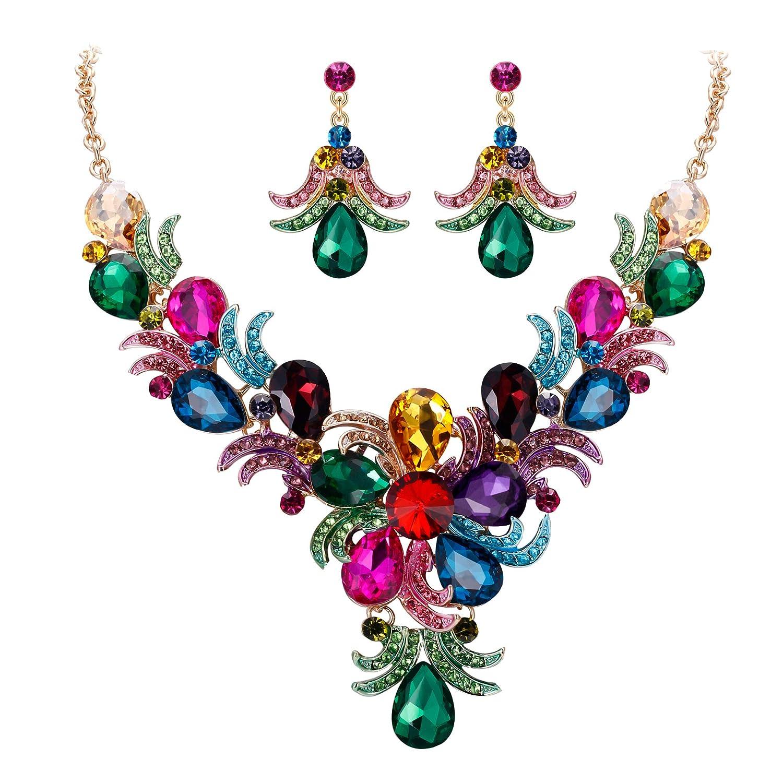 Youkara Rhinestone Pendant Necklace Earrings Jewelry Set for Women Wedding Jewellery
