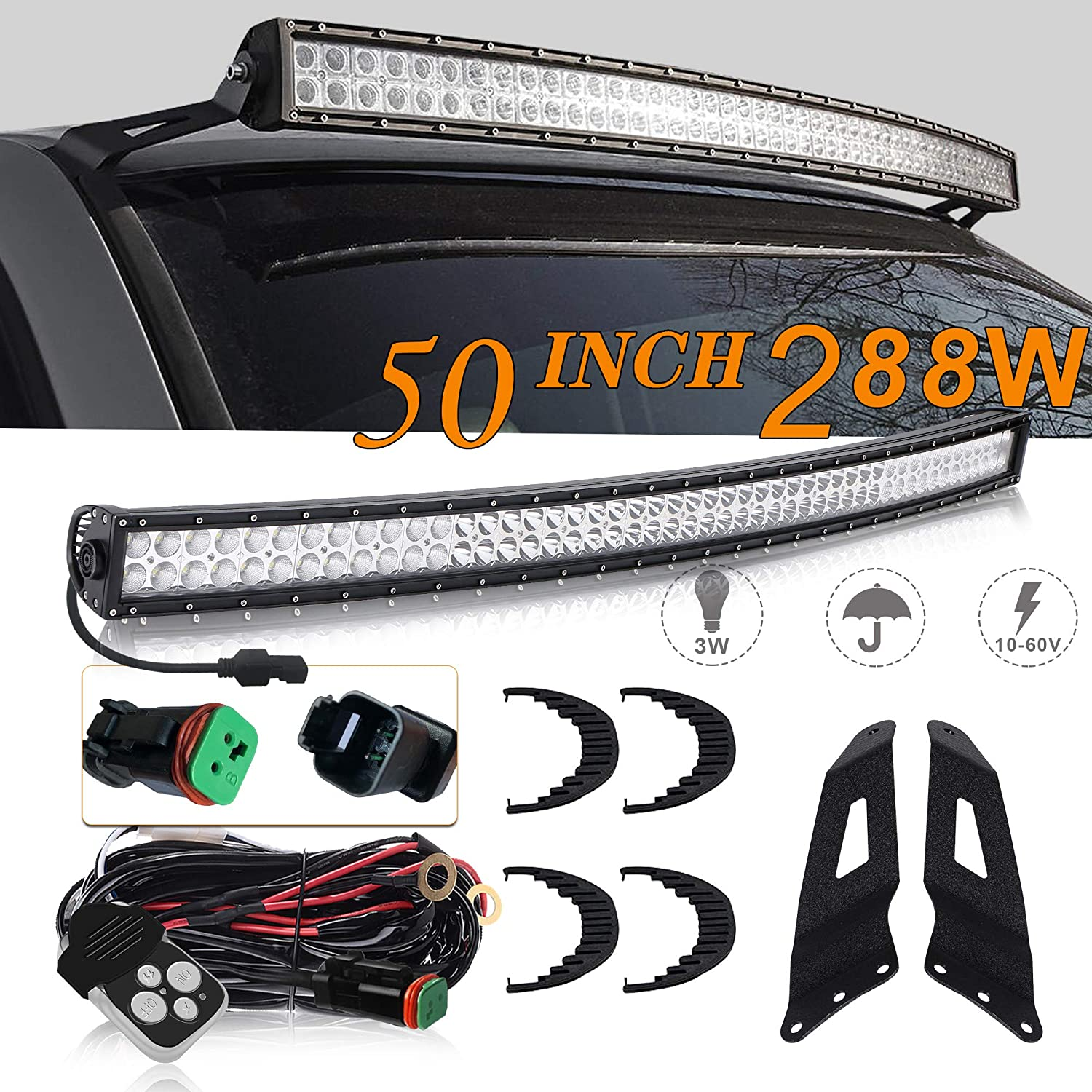 UNI FILTER DOT Approved 50 Inch 288W Curved LED Light Bar Offroad W/ Remote Switch DT Connector For Chevy Silverado 1500 2500 3500 Chevy Avalanche Chevy Tahoe Chevy Suburban 1500 2500 GMC Sierra 1500 2500 3500