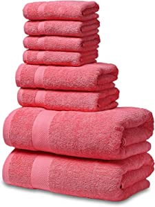 SEMAXE Towel Luxury Bath Towel Sets for Bathroom. Hotel & Spa Quality. 2 Large Bath Towels, 2 Hand Towels, 4 Washcloths. Premium Collection Bathroom Towels (Coral Pink, 8 Towel Set)