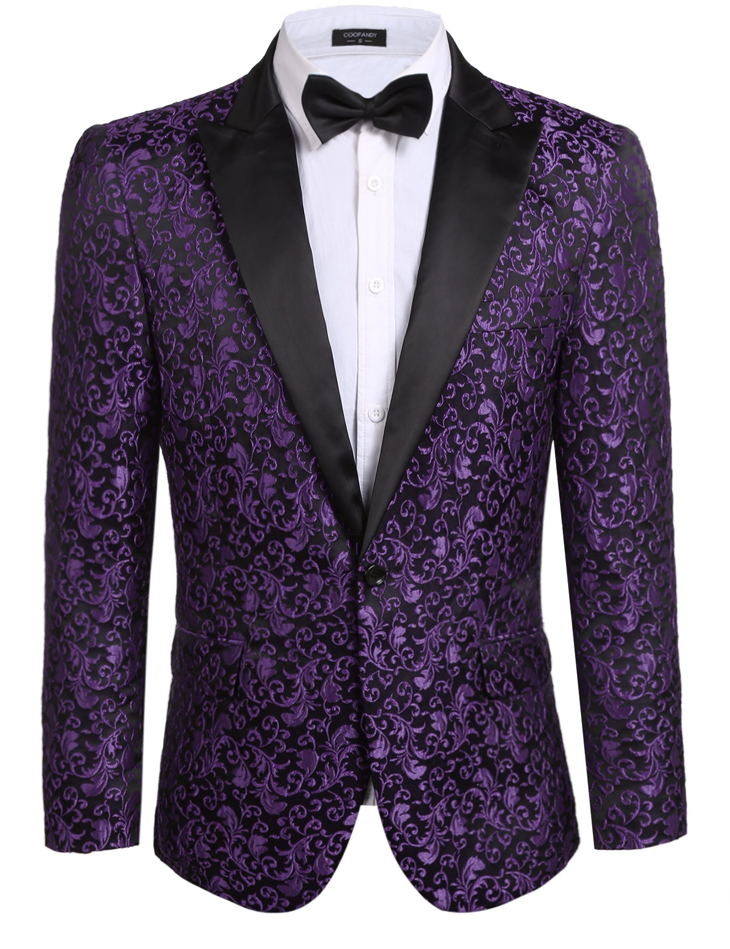 Coofandy Men's Floral Party Dress Suit Stylish Dinner Jacket Wedding Blazer One Button Tuxdeo Purple US XL